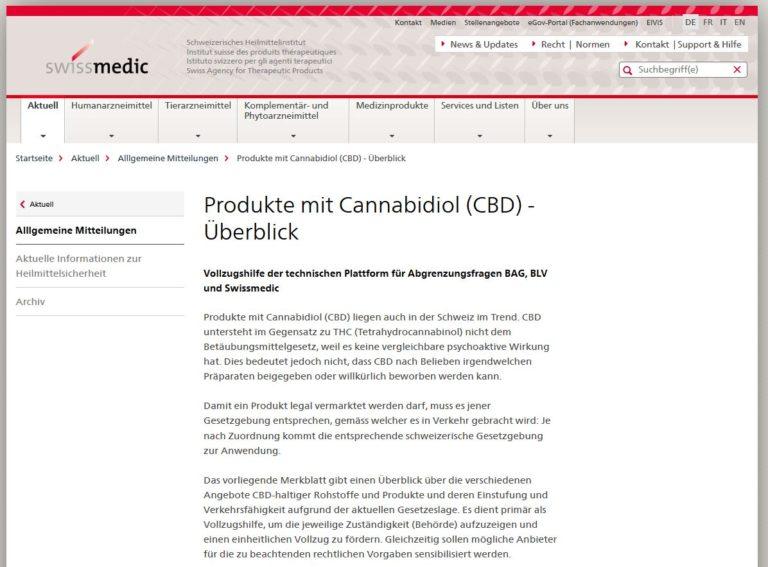 Produkte mit Cannabidiol (CBD) – Überblick – 21.04.2021 update